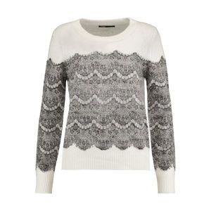 Maje Lace-Paneled Knitted Sweater Wool White